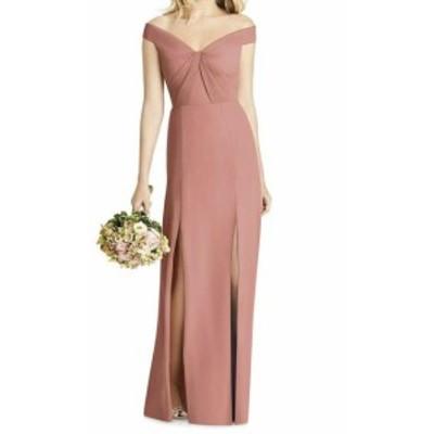 Social Bridesmaids ソーシャルブライズメイド ファッション ドレス Social Bridesmaids NEW Pink Women 10 Pleated Off Shoulder Sheath