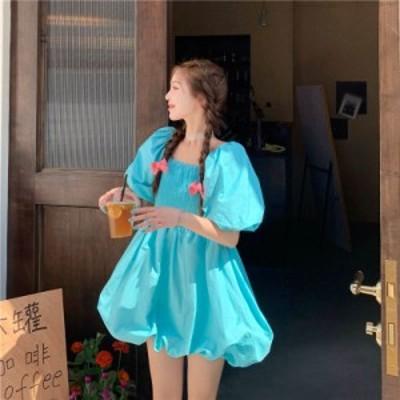 パフスリーブ ドレス ベルフラワー スカート パフィーショートスカート