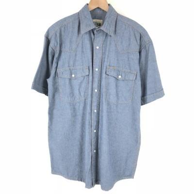 古着 KEY キー ウエスタンシャツ 半袖 ブルー系 メンズL 中古 n004920