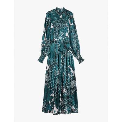 テッドベーカー TED BAKER レディース パーティードレス マキシ丈 ワンピース・ドレス Anafia floral-print woven maxi dress TEAL BLUE
