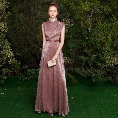 パーティードレス ドレス ロングドレス ワンピース 結婚式 お呼ばれ 大きいサイズ 3L マキシ丈 ノースリーブ ベルト スパンコール