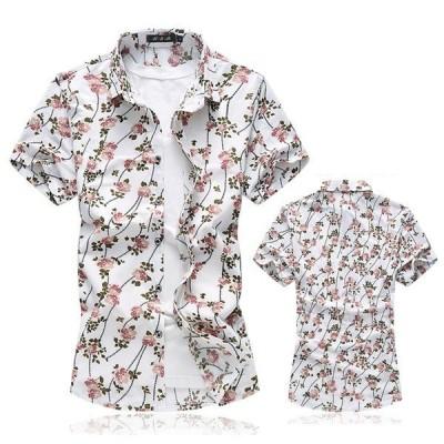 半袖シャツ メンズ カジュアルシャツ 花柄 アロハシャツ リゾートビーチ 大きいサイズ おしゃれ 2019夏