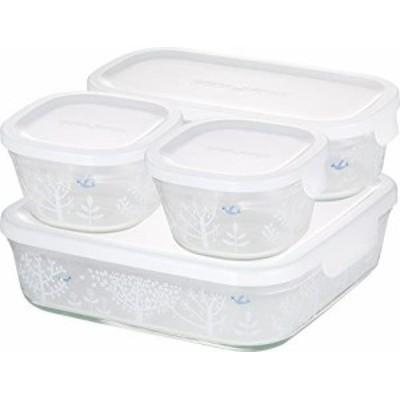 iwaki(イワキ) 耐熱ガラス 保存容器 シンジカトウ Petit bois 4個セット パック&レンジ PS-PRNSNC41