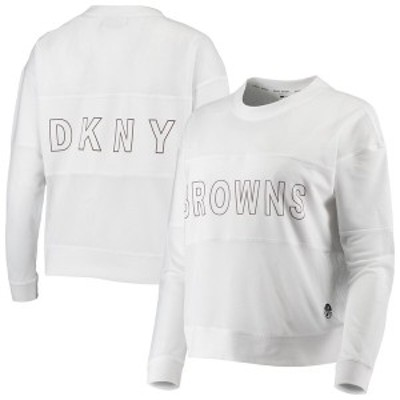 ダナ キャラン ニューヨーク レディース Tシャツ トップス Cleveland Browns DKNY Sport Women's Kaitland Tri-Blend Long Sleeve T-Shir