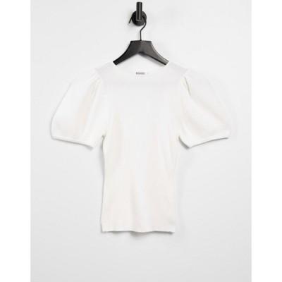 ミスガイデッド Missguided レディース トップス top with puff sleeve in white ホワイト