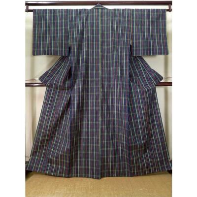 着物 紬 女性用 和服  ウール ダークな  藍, チェック柄 【中古】 【USED】 【リサイクル】 ★★★★☆ J1001O