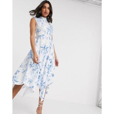 クローゼットロンドン Closet London レディース ワンピース ワンピース・ドレス High Neck Midi Dress In Floral Print ホワイト/ブルー