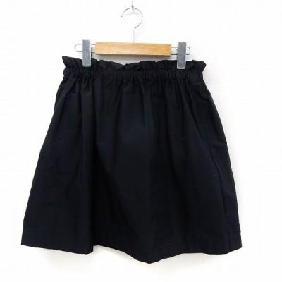 【中古】アダムエロペ Adam et Rope' スカート フレア 膝丈 ウエストゴム シンプル 38 ブラック /ST11 レディース 【ベクトル 古着】