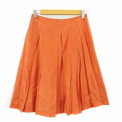 【中古】バーニーズニューヨーク BARNEYS NEW YORK スカート フレア ひざ丈 タック 38 オレンジ /AAM4 レディース