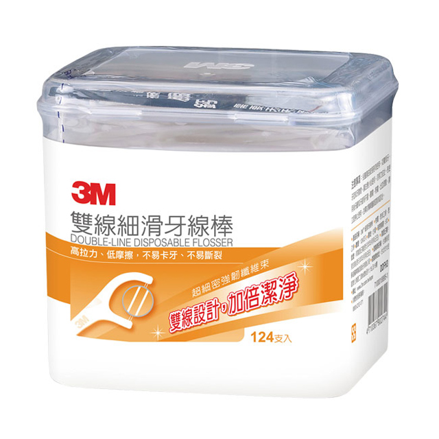 3M 雙線細滑牙線棒-盒裝-(124支/盒)