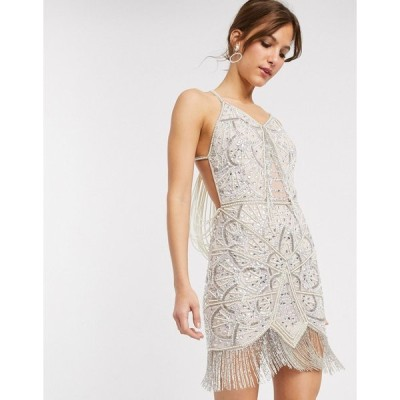 エイソス ミニドレス レディース ASOS DESIGN mini dress fringe embellished mini with pearl drape back エイソス ASOS