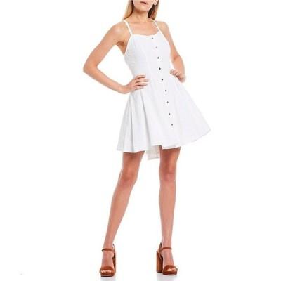 チェルシーアンドバイオレット レディース ワンピース トップス Button Front Lace-Up Back Sleeveless Swing Dress