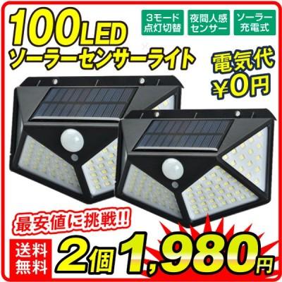 ソーラーライト 100LED 照らすくん 2個セット センサーライト ガーデンライト 人感センサー 防雨 配線不要 防犯  壁 ミスターブライト 国華園