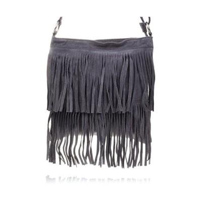 Firenze Artegiani Bolso De Mujer Piel Aut〓ntica, Acabado Camoscio Messenger Bag, 31 cm, Grey (Gris Oscuro) 並行輸入品