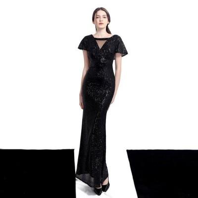 パーティードレスイブニングドレス可愛い安いモチーフロングドレスマーメイドパーティ花嫁