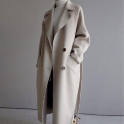 ウールライクコート アウター ロング丈 防寒 あったか 大人可愛い ガーリー カジュアル 韓国ファッション トレンド レディース きれいめ