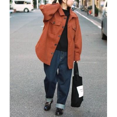 【フィズ】 杢フェイクウールシャツジャケット dt レディース オレンジ M Fizz