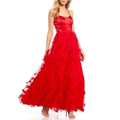 シークインハーツ レディース ワンピース トップス Spaghetti Strap Satin 3D Floral Ballgown