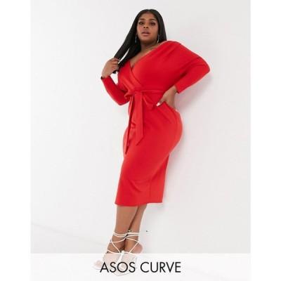 エイソス ASOS Curve レディース ワンピース ミドル丈 Asos Design Curve Structured Fallen Shoulder Midi Dress With Self Tie Waist In Red レッド