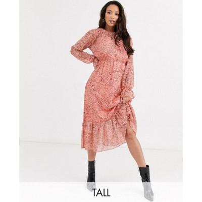 ワイ エー エス Y.A.S Tall レディース ワンピース シャツワンピース ワンピース・ドレス Owa long sleeve ditsy floral midi shirt dress ピンクプリント