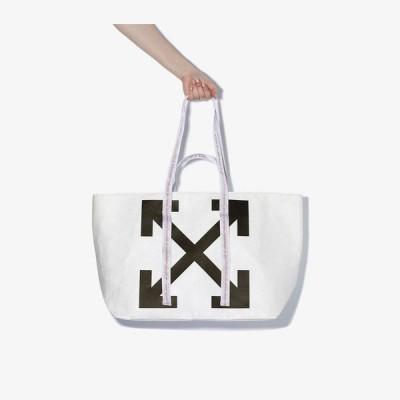 オフホワイト Off-White レディース トートバッグ バッグ black and white arrow print PVC tote bag white
