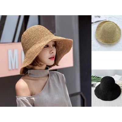 麦わら帽子レディース マニュアル ぼうし 手作り折りたたみ ファッション 夏物