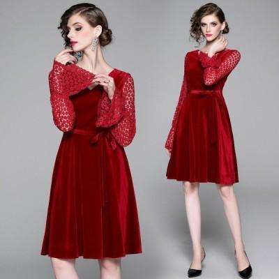 ベロアワンピース結婚式 赤 パーティードレス 二次会 袖ありパーティードレス赤 お呼ばれドレス 膝丈 20代30代