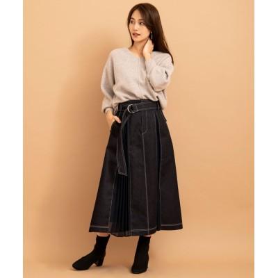 【アンドクチュール】 デニムプリーツコンビスカート レディース ブラック M And Couture
