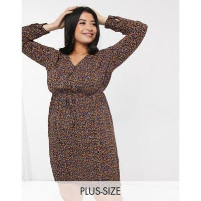ニュールック レディース ワンピース トップス New Look Curve long sleeved belted tunic dress in ditsy floral