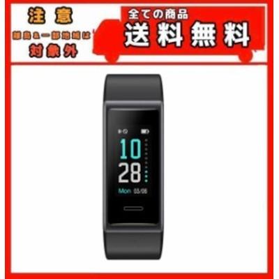 スマートウォッチ ブラック 歩数計 活動量計 ストップウォッチ 着信通知 睡眠モニター IP68防水 画面の明るさ調節 最長連続7日間使用可能
