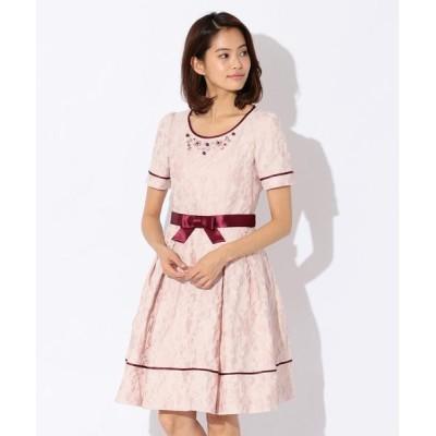 TO BE CHIC/トゥー ビー シック フラワージャカードドレス ピンク2 40