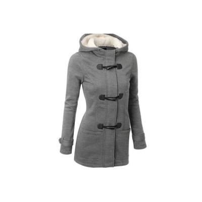 ロングコート トレンチコート レディース アウター フード付き 牛角ボタン 長袖 秋冬 スリム 防寒 通勤 6色展開 大きいサイズあり