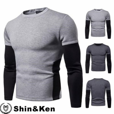 Tシャツ メンズ ロンT 長袖Tシャツ クルーネック フェイクレイヤード ティーシャツ 2020 春