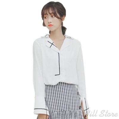 ブラウス シャツ シフォン 淑女風 OL 長袖 ホワイト 着痩せ レディース 通勤 春夏 レッド ホワイト 襟付き