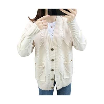 [ジョプリンアンドコー] 7カラー ゆったりカーディガン ケーブル編み リブ袖 ポケット付き 秋物 冬物 レディース (ホワイト M)