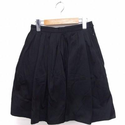 【中古】シンゾーン Shinzone スカート ギャザー フレア ひざ丈 無地 シンプル 36 ブラック 黒 /FT37 レディース 【ベクトル 古着】