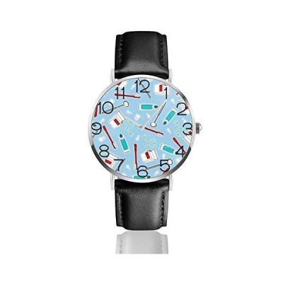腕時計 かわいい歯科医歯科衛生士プリントブルー ウオッチ クラシック カジュアル 防水 クォーツムーブメン?