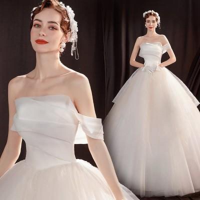 ウェディングドレス 結婚式ドレス パーティー Aライン パーティードレス 二次会ドレス ウェディングドレス 二次会 花嫁 白 披露宴 結婚式 姫系 運賃無料