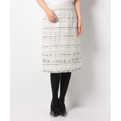 ANAYI/アナイ ホワイトチェックツイードAラインスカート ホワイト1 38