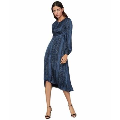 ビーシービージーマックスアズリア ワンピース トップス レディース Long Sleeve Python Print Block Dress Pacific Blue/Python Skin
