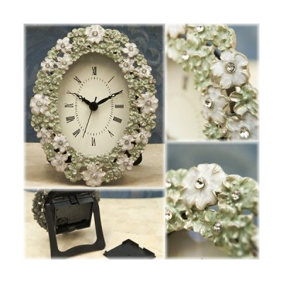 置時計 可愛らしいデザインの置き時計 アガット テーブルクロック フラワーオーバル 送料無料