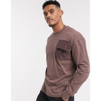 オンリーアンドサンズ 長袖Tシャツ メンズ Only & Sons long sleeve utility pocket top in damson エイソス ASOS
