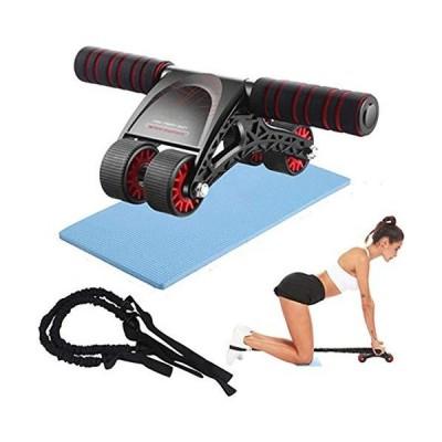 Huhuali 腹筋ローラー 腹筋トレーニング 腹筋ローラー ホイール エクササイズ器具 腹筋ホイールローラー 膝マットと抵抗ロープ付き ホームジムエ