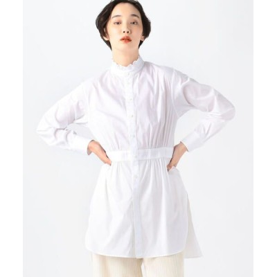 TOMORROWLAND/トゥモローランド コットンナイロンストレッチ フリルネックチュニックシャツ 11 ホワイト 36(9号)