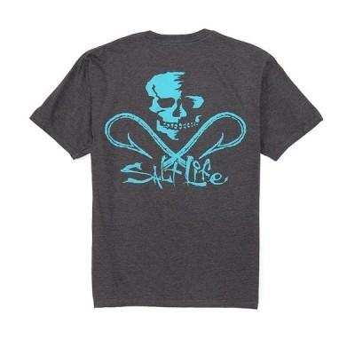 ソルトライフ メンズ Tシャツ トップス Skull And Hooks Screen Print Short-Sleeve Pocket Tee Charcoal Heather