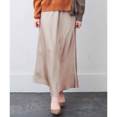 スカート IEDIT サテンの光沢が美しいセミサーキュラースカート