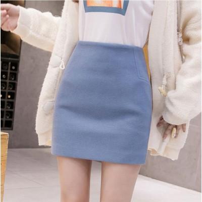 [55555SHOP]美少女すぎる!早い者勝ち 秋冬 バッグヒップスカート 小さい新鮮な 百掛け  Aライン ウールスカート