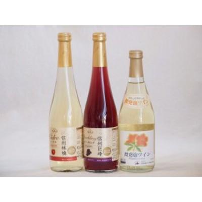 国産甘口スパークリングワイン3本セット 信州産100%林檎 信州産100%巨峰 北海道おたる微発泡白ワイン 500ml×3