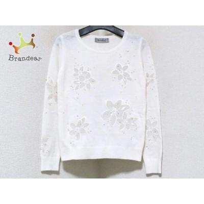 リランドチュール Rirandture 長袖セーター サイズ2 M レディース 白 フェイクパール/刺繍   スペシャル特価 20210106