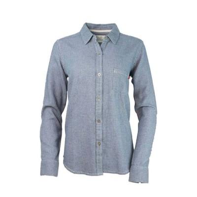 パーネル Purnell レディース ブラウス・シャツ トップス dobby button-up shirt Indigo